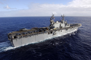 071111-N-6597H-220 PACIFIC OCEAN (Nov. 11, 2007) Ð Amphibious assault ship USS Tarawa (LHA 1) transits through the Pacific Ocean while on deployment in support of maritime security operations and the global war on terrorism. U.S. Navy photo by Mass Communication Specialist Seaman Jon Husman (RELEASED)